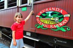 Kuranda盘旋火车的乘客在Queenland澳大利亚 库存图片
