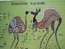 Kuranda Dreamtime Mural. An aboriginal mural depicting `Dreamtime` in Kuranda, Queensland, Australia royalty free stock photos