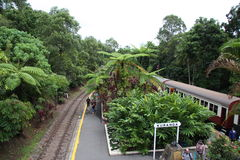 Kuranda Scenic Railway Australia. Stopping at the rail station in Kuranda stock image