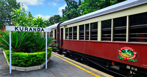 Kuranda Scenic Railway in Queenland Australia. CAIRNS, AUS - APR 17 2016:Kuranda Scenic Railway stop in Kuranda train station a very popular tourist attraction royalty free stock photos