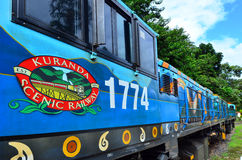 Kuranda Scenic Railway in Queenland Australia. The locomotive of Kuranda Scenic Railway train, a very popular tourist attraction in the tropical north of stock images