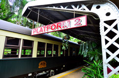 Kuranda Scenic Railway in Queenland Australia. Kuranda Scenic Railway stop in Kuranda train station a very popular tourist attraction in the tropical north of stock image