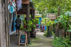 Kuranda Village Shops. In Kuranda. Lovely green walkways like the shop filled streets stock photo