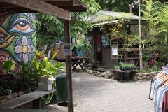 Kuranda Village Shops. In Kuranda. Lovely green walkways like the shop filled streets stock images