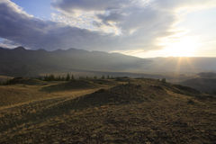 Kuray mountain range and steppe at dawn Royalty Free Stock Photography