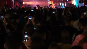 26.06.2019 Kuraz bazar Kiev Ukraine. Gus Gus consert live gig. Video. People taking video with their cell phones fpr. Social media. Footage stock video