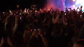 26.06.2019 Kuraz bazar Kiev Ukraine. Gus Gus consert live gig. Video. People taking video with their cell phones fpr. Social media. Footage stock video footage