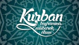 Kurban-bayramininiz mubarek olsun Übersetzung vom Türkischen: Glückliches Fest des Opfers lizenzfreie abbildung