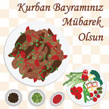 Kurban holiday breakfast. Vector illustration of greeting card for sacrifice feast with traditional meat meal  kavurma and greeting in turkish language which Royalty Free Stock Images