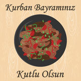 Kurban kavurma middle. Vector illustration of greeting card for sacrifice feast with traditional meat meal  kavurma and greeting in turkish language which means Stock Images
