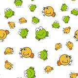 Kurczaków i żab bezszwowy wzór w kreskówce projektuje ilustracja wektor