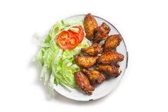 Kurczaków gorący skrzydła sałatkowi fotografia stock