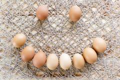 Kurczaków jajka tworzy twarz z uśmiechem Zdjęcie Stock