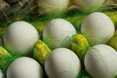 Kurczaków jajka w barwiony papierowy życzliwy pakować z dekoracyjnym sizalem Zakończenie fotografia, makro- Wielkanocny tła jedze Obrazy Stock