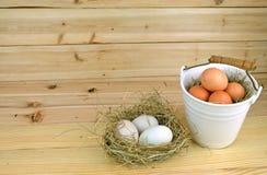 Kurczaków jajka w ceramicznych koszykowych i kaczki jajkach w gniazdeczku Fotografia Stock