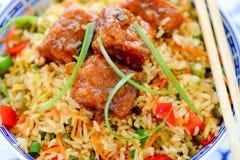 Kurczaków Mandżurscy i Singapur Smażący ryż Zdjęcie Royalty Free