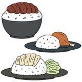 kurczaków ryż ilustracji