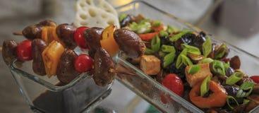 Kurczaków serca Piec na grillu na Skewers zdjęcia royalty free