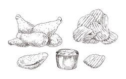 Kurczaków układów scalonych i bryłek nakreślenia stylu ikony set royalty ilustracja