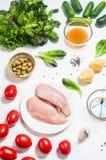 Kurczaków veggies na bielu i vreast Zdjęcie Stock
