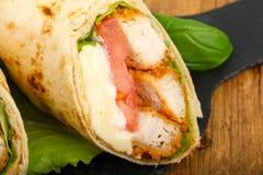 Kurczak chlebowa rolka Obrazy Stock