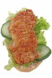 Kurczak chlebowej mąki warzywo tak jak hot dog trochę, odizolowywający na białym tle Obrazy Royalty Free