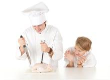 kurczak gotuje surowej narządzanie drużyny Zdjęcia Royalty Free