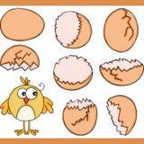 Kurczak i jajko łamający ustaleni cyfrowi elementy ilustracja wektor