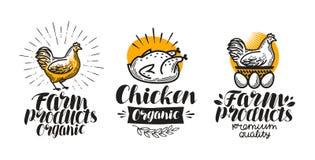 Kurczak, kurny etykietka set Farma drobiu, jajko, mięso, broiler, pullet ikona lub logo, Literowanie wektoru ilustracja royalty ilustracja