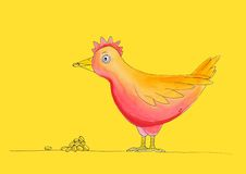 Kurczak ma posiłek, childs rysuje, akwareli pa Obrazy Stock