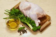 Kurczak na drewnianym tle Fotografia Royalty Free