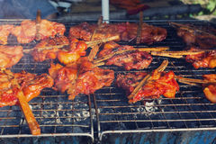Kurczak na grilla grillu zdjęcie stock