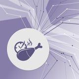 Kurczak noga lub drumstick ikona na purpurowym abstrakcjonistycznym nowożytnym tle Linie w wszystkie kierunkach Z pokojem dla twó Obrazy Stock