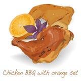 Kurczak noga Ćwiartuje BBQ royalty ilustracja