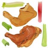 Kurczak noga Ćwiartuje BBQ ilustracja wektor