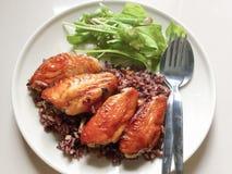 Kurczak piec na grillu z ryż Zdjęcie Royalty Free