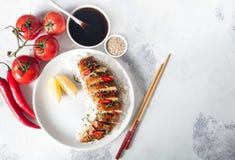 Kurczak pierś w teriyaki kumberlandzie z ryż i warzywami Zdjęcia Stock