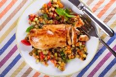 Kurczak pierś z smażonymi warzywami Obraz Royalty Free