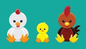 Kurczak Rodzinnej lali kreskówki wektoru Ustalona ilustracja ilustracji