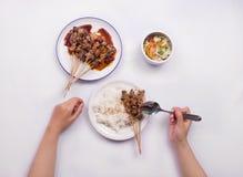 Kurczak satay z wyśmienicie arachidowym kumberlandem słuzyć z białymi ryż i warzywami Zdjęcia Royalty Free