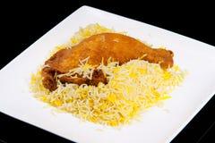 kurczak smażący nogi ryż zdjęcia stock
