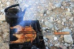 Kurczak smaży na BBQ Obrazy Stock