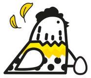 Kurczak z jajkiem i piórkami ilustracja wektor