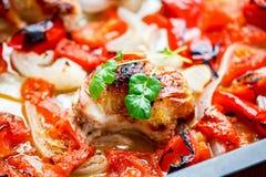 Kurczak z piec ratatouille Zdjęcie Stock