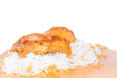 Kurczak z pieprzowym kumberlandem z ryż. Zdjęcia Royalty Free