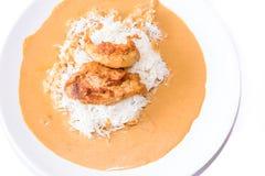 Kurczak z pieprzowym kumberlandem z ryż. Fotografia Stock