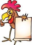 Kurczak z sztandarem Fotografia Royalty Free