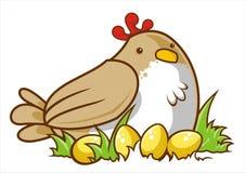 Kurczak z złotymi jajkami Zdjęcia Stock