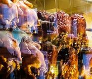 Kurczaka łasowania karmowy mięsny kucharstwo je obiad gorącego piec na grillu Obraz Royalty Free
