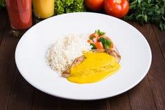 Kurczaka curry z białymi ryż i warzywami Obraz Stock